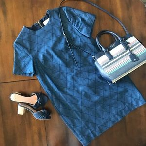 ♠️Kate ♠️ Quilted Chambray Shift Dress